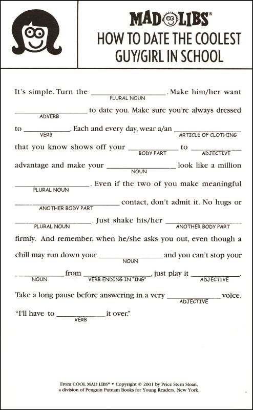 Cinema Smear Mad Libs